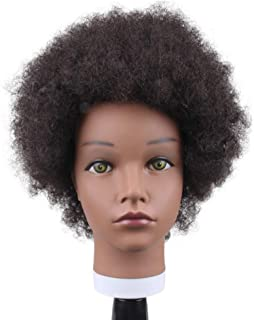 JiaYi 8 Inch Afro Mannequin Training Head 100% Human Hair Black Mannequin African Cosmetology Doll Head with Free Clamp