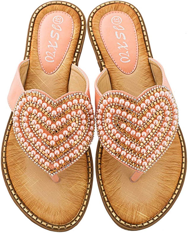 Mubeuo Women's Leather Jeweled Sandles Thong Sandals Beach Flip Flops