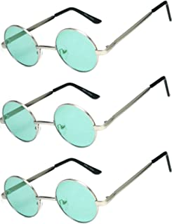 Set of 3 Pairs Round Retro Vintage Circle Sunglasses Colored Metal Frame Small model 43 mm