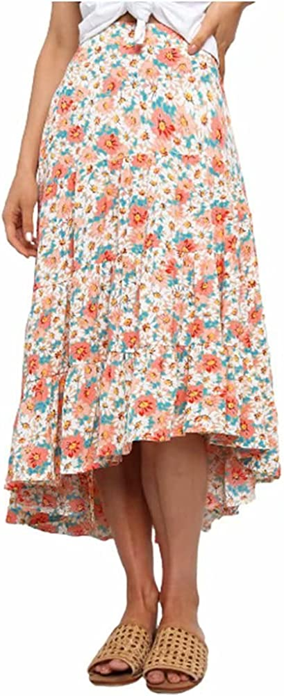 JIURI Women's Ditzy Floral Skirt Flowy High Waist Boho A-line Vintage High Low Pleated Ruffle Irregular Hem Swing Midi Skirts