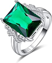 Psiroy 925 Sterling Silver Created Emerald Quartz Filled Anniversary Ring for Women