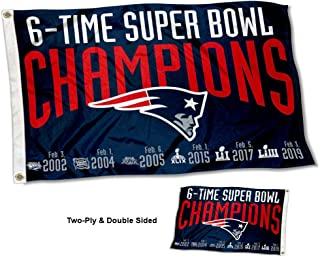 WinCraft New England Patriots Double Sided 6 Time Super Bowl Champions Flag