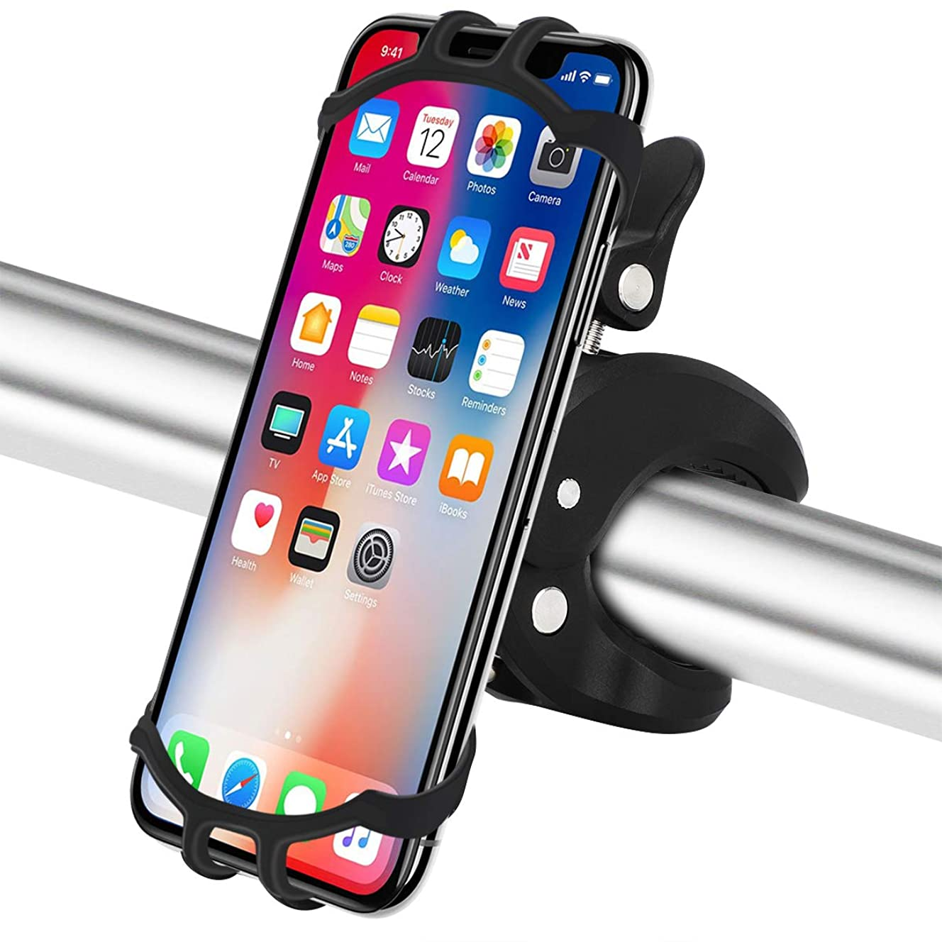 Bike Phone Mount,Universal Anti Shake Bicycle Phone Holder,Silicone Motorcycle Handlebar Mount with 360° Rotation for iPhone X, 8/8 Plus, 7, 6/6s Plus, All Galaxy, 4.0