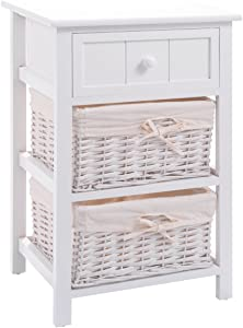 Giantex Nightstand with Drawers Wooden, W/ 2 Storage Baskets and Open Shelf for Bedroom, Bedside Sofa End Table (1, White)