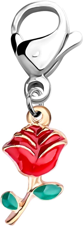 CHOORO Rose Clip on Charm Flower Bridesmaid Red We El Paso Mall Sales