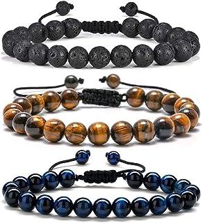 هدایای دستبند مردانه Tiger Eye - دستبند اضطراب Tiger Eye Lava Rock Stone 8mm