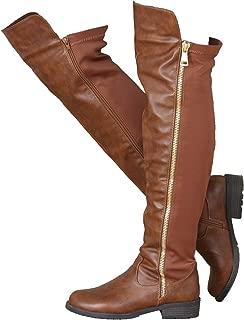 ShoBeautiful Women's Winter Low Heel Knee High Riding Boots Over The Knee Boot ZY01 (9, Tan)