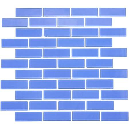 1x3 Inch Light Periwinkle Blue Glass Subway Tile Full Sheet