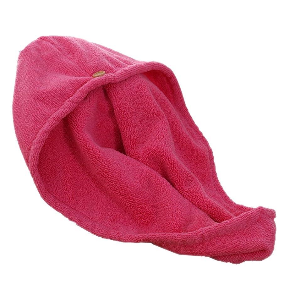 浸透するライトニング突き刺す[ノーブランド品]ヘアドライタオル女性シャワーキャップ 28*65cm YGF09 (レッド)