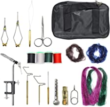 XFISHMAN Travel Fly Tying Kit with Carrying Bag 14 Kinds of Fly Tying Tools Set