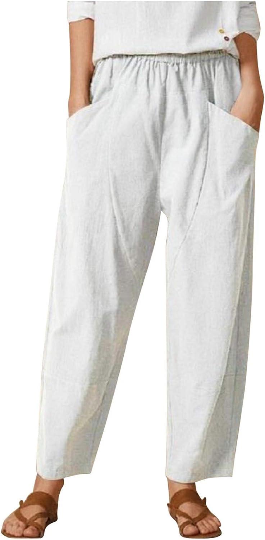 iSovze Women Cotton Linen Baggy Pant with Pocket, Summer Casual Solid Color Capris Wide Leg Comfy Harem Pants Trousers