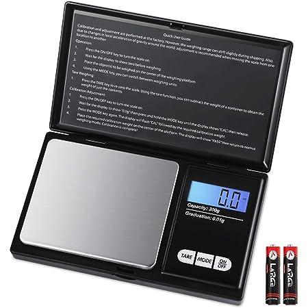 Balance de poche AMIR, balance numérique de précision 200g/0,01 g, balance digitale, pèse-lettre, balance or, balance pièces, avec écran LCD rétro-éclairé et fonction tare