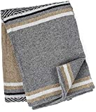 Genuine Mexican Handwoven Blanket, Premium Large Heavyweight Falsa Blanket, Serape & Yoga Blanket   Beach Blanket   Throw Blanket   Picnic Blanket (Traditional, Sandstorm)