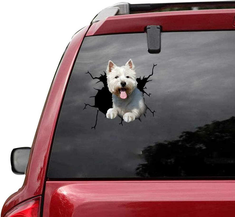 New products world's highest quality popular RAMUATI 3 pcs West Highland White Terrier Window High order Car Pupp Vinyl