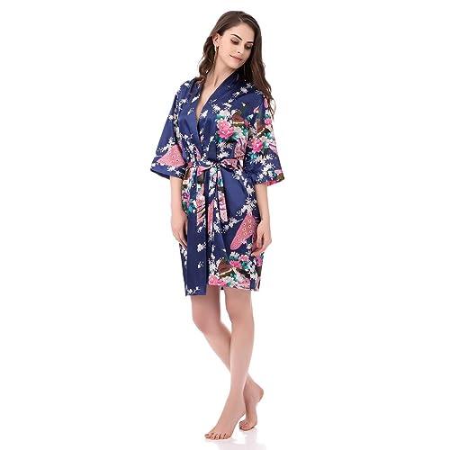 gusuqing Women s Printing Peacock Kimono Robe Short Sleeve Silk Bridal Robe 67c294572
