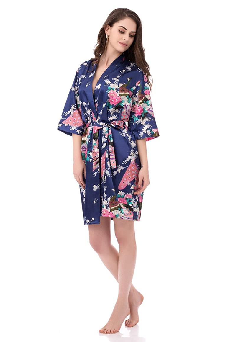 gusuqing Women's Printing Peacock Kimono Robe Short Sleeve Silk Bridal Robe