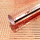 Mesoar - Juego de 2400 azulejos de mosaico de espejo de oro rosa para manualidades, autoadhesivos,...