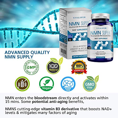 61xKvlpEnnL - NMN Supplement, 500MG Nicotinamide Mononucleotide Capsules for Supports Anti-Aging, Longevity and Energy, Naturally Boost NAD+ Levels (NMN 60PCS)