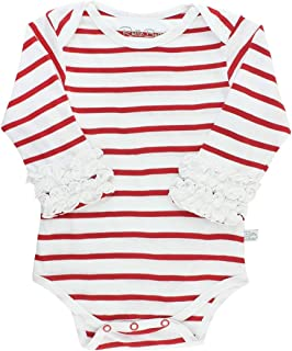 RuffleButts Baby/Toddler Girls Long Sleeve Stripe One Piece Layering Bodysuit with Ruffles