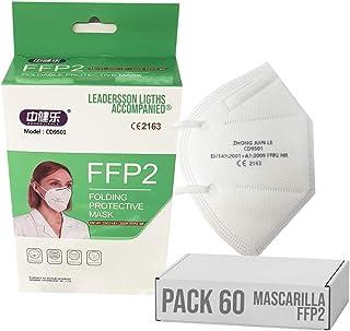 Mascarilla FFP2 CE 2163, Mascarilla de Protección Personal homologada. 5 capas. Alta Eficiencia Filtración BFE de 95%, bla...