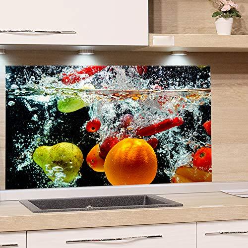 GRAZDesign Spritzschutz Glas für Küche, Herd Bild-Motiv Früchte im Wasser Schwarz Bunt Küchenrückwand Küchenspiegel Glasrückwand (80x50cm)