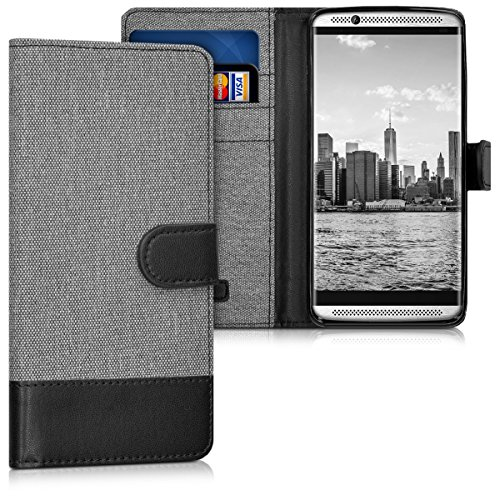 kwmobile Wallet Case Compatible with ZTE Axon 7 Mini - Fabric and PU Leather Cover with Card Slots and Stand - Grey/Black