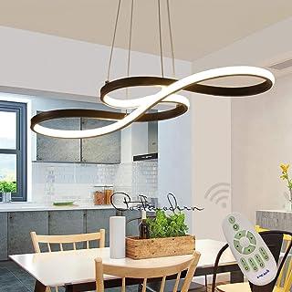 Lámpara Colgante LED Comedor Luz Pendiente Oficina Iluminación De Suspensión Regulable con Mando Distancia, Diseño Música Lámpara De Techo Salon Estudio Araña Altura Ajustable L75*W32cm (Negro)