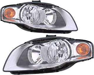 Headlight Assembly Replacement For Audi A4 / S4 Sedan/Wagon   Rs4 / Cabriolet Driver Left and Passenger Right Pair Set 2005 2006 2007 2008 Headlamp AU2502128 AU2503128