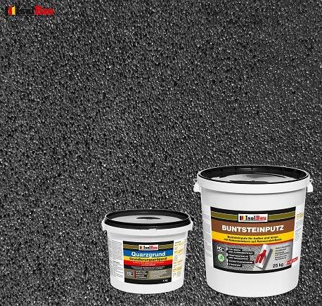 Buntsteinputz Mosaikputz BP100 (Anthrazit) 25kg Absolute ProfiQualität + Quarzgrund 4 kg