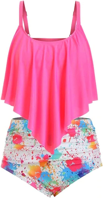 Jinjin2 Women High Waist Swimsuit Plus Size Ruffle Swimwear Two Piece Bikini Set Print Summer Beachwear