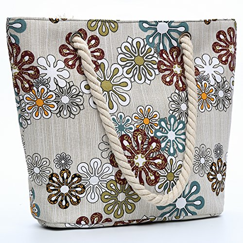 AuBer Beige Canvas Beach Bag