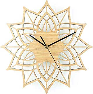 Solid Wood Lotus Wall Clock Silent Non Ticking Quality Quartz Battery Operated Decorative Round Wooden Rustic Wall Clock for Living Room Kitchen Bedroom 30X30cm