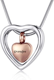 Personalized Engrave Beautiful Cremation Jewelry Urn Pendant Necklace for Ashes Stainless Steel Memorial Jewelry for Papa Nana Grandpa Grandma Dad Mom