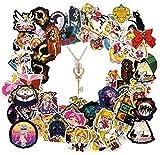 Laoji 100 pegatinas de Sailor Moon y 1 collar de Sailor Moon, linda pegatina de Sailor Moon para niñas, portátil, teléfono, botella de agua, monopatín, bolso, coche, bicicleta, equipaje calcomanía