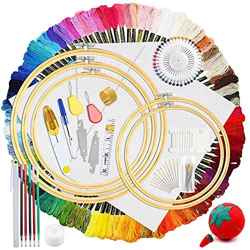 Hilos de Bordar Kit,Kit de Inicio de Bordado Kit,Kits de Punto de Cruz,100 Colores Hilos,5 Pcs Aros de Bambú,3 Telas de Punto de Cruz,Agujas y Accesorios Completos Herramienta de Coser Manualidades