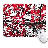GUVICINIR マウスパッド 個性的 おしゃれ 柔軟 かわいい ゴム製裏面 ゲーミングマウスパッド PC ノートパソコン オフィス用 デスクマット 滑り止め 耐久性が良い おもしろいパターン (赤い秋の植物は強い空のアジアのコントラストをオーガニックジョイブラックネイチャーウッドデザインに残しますハッピーツリー)