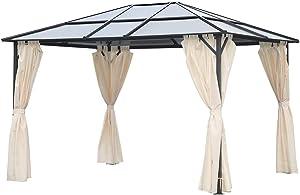 Angel Living 3x3.6M Aluminium et Fer Tonnelle à Toit Dur Pavillon de Jardin avec 4 Tissu de Polyester et Planche PC