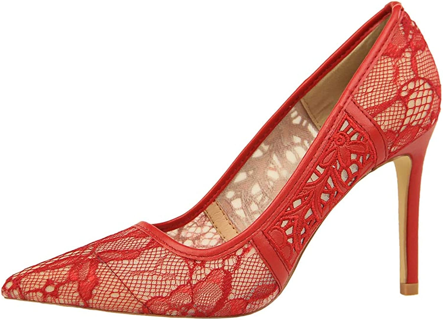 Sam Carle Women Pumps, Sexy Hollow Out Lace Shallow Mouth High Thin Heel Pointed Toe shoes