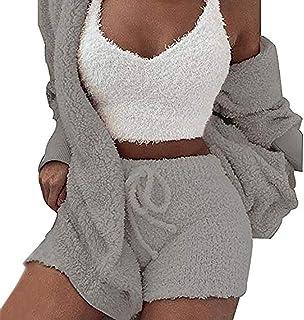 WAQIA Womens Sexy Fuzzy Warm Sherpa Fleece 3 Piece Outfit Fleece Coat and Spaghetti Strap Crop Top Shorts Set