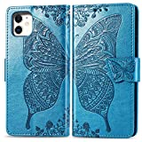 Wallet Case, for iPhone 11 Pro flip Case CaseHQ Butterfly Heavy Duty Flip Leather Cover Card Slot Holder Closure Magnetic Phone Case with Lanyard, Designed for Apple iPhone 11 Pro Case - Blue
