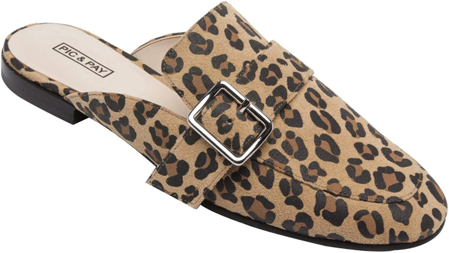 PIC PAY Dacia - Women's Leather Buckle Mule - Backless Slip-on Flat Leather Loafer Tan Black Leopard Suede 5.5M