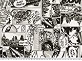 Dekostoff im Comic-Stil, schwarz-weiß, 140cm