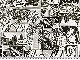 Zanderino ab 1m: Dekostoff im Comic-Stil, schwarz-weiß,