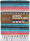 Zulay Home Authentic Mexican Blankets - Hand Woven Yoga Blanket & Outdoor Blanket - Artisanal Boho Blanket & Car Blanket for Beach, Picnic, Camping, or Home Throw Blanket (Blue Pink Sand)