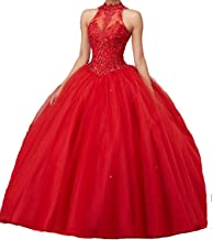 CharmingBridal High Neck Lace Prom Pageant Ball Gown Quinceanera Dresses
