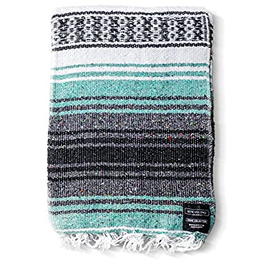 Mexican Blanket Authentic Falsa Blankets: Thick Soft Woven Acrylic for Yoga or as Beach Throw, Picnic, Camping, Travel, Hiking, Adventure (Mint)