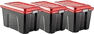 Sundis 4552002 Lot de 3 Malles de Rangement Locker, Plastique, Noir/Rouge, 3x60L