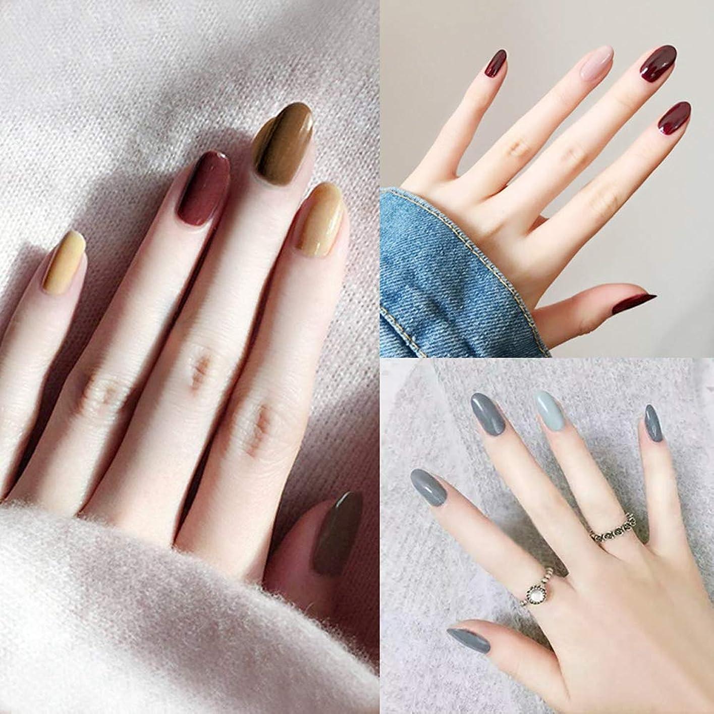 リース財団コントラストファッションレッドクリームインクハリスタイル偽爪純粋な色偽爪24ピースフルブライダルネイルのヒント滑らかな指装飾のヒント接着剤付き人工爪