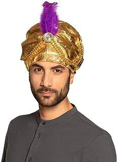 Boland Turban Sultan Selim - 81015 - Doré, perles, plumes, pierres blanches - Bonnet en tissu, taille unique, élastique, c...