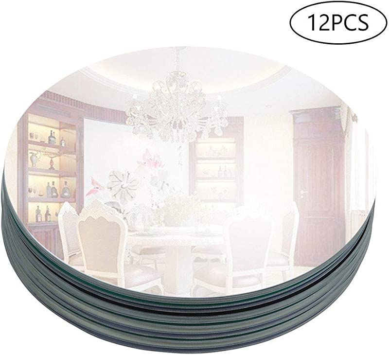 Murrey Home 12 Pack 12 Round Mirror Tray Plate For Wedding Christmas And Party D Cor